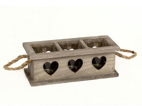 3 Space Rustic Wooden Heart Tray With Handles