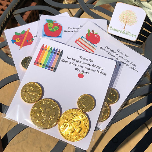 Teacher's End of term gifts  6 X Chocolate Coin Cards