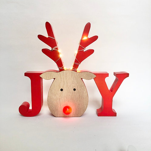 Rudolph Joy Sign with LED Lights