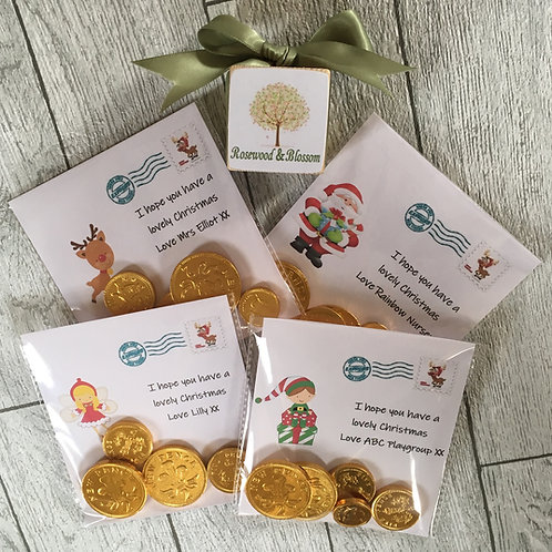 6 X Chocolate Coin Cards
