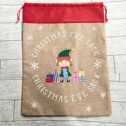 Girl Elf Christmas Eve Sack