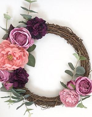 Bespoke Purple Haze Floral Willow Wreath