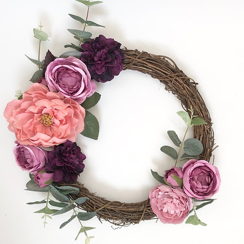 Bespoke Purple Haze Floral Willow Wreath