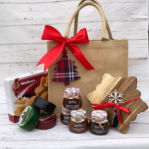 Snowflake Crackers and 4 Chutney Gift Hamper Bag