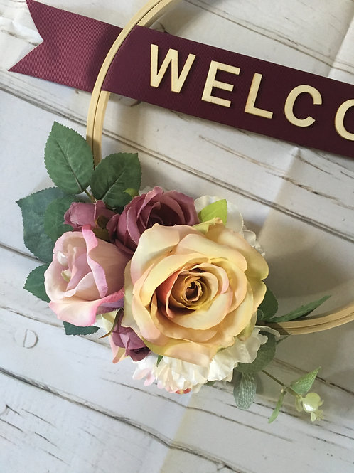 """""""Welcome"""" Bespoke Artificial Floral Wreath"""