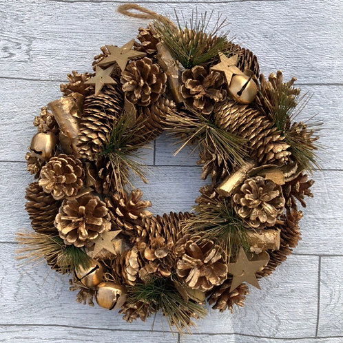 Traditional Gold Christmas Door Wreath with Pine Cones and Bells