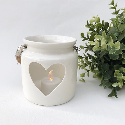 Large White Porcelain Heart Lantern