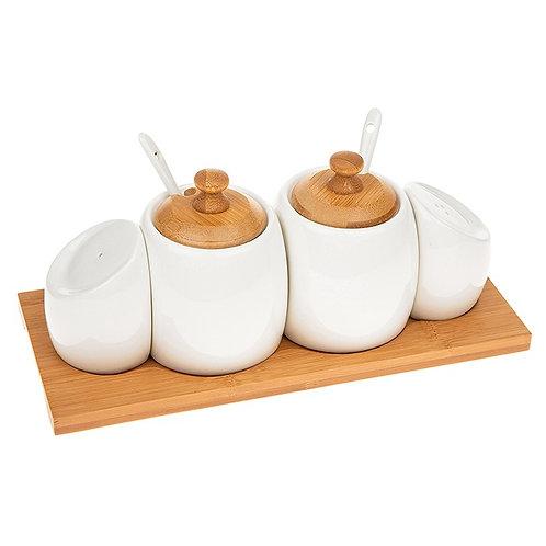 White Bamboo Nest Condiment Set