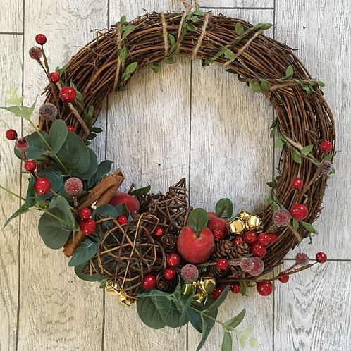 Bespoke Christmas Rustic Berry and Star Wreath