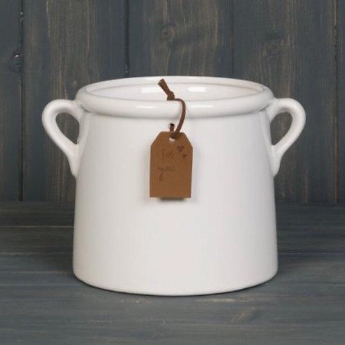 Medium White Ceramic Planter