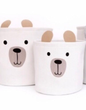 Set of 2 Bear Storage Baskets