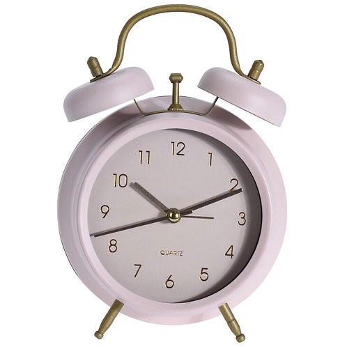 Retro Pastel Pink and Gold Modern Twin Bell Alarm Clock