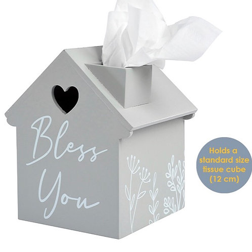Wooden Bless you House Tissue Holder