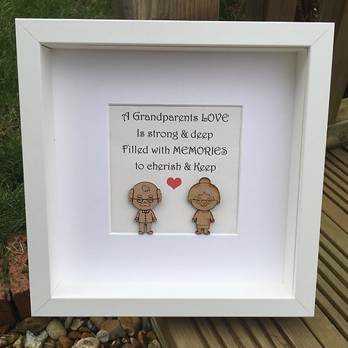 Grandparents Wooden Figure Frame With Quote