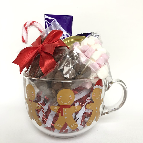 Hot Chocolate Lovers Gingerbread Glass Mug Gift Set
