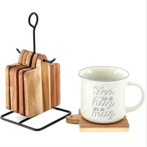 Hanging Wooden Coaster Set