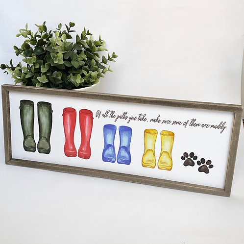 Family Wellie Wooden Plaque Sign