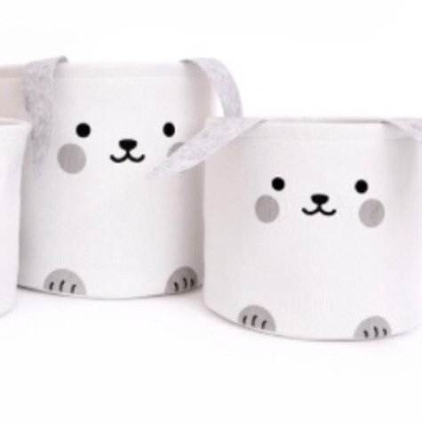 Set of 2 Bunny Storage Baskets