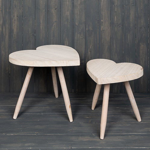 Small Natural Wooden Heart Stool