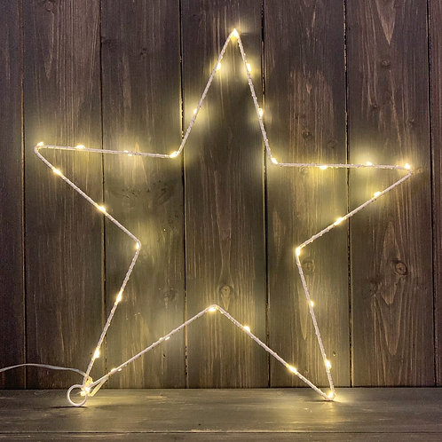 White Wire LED Star Decoration