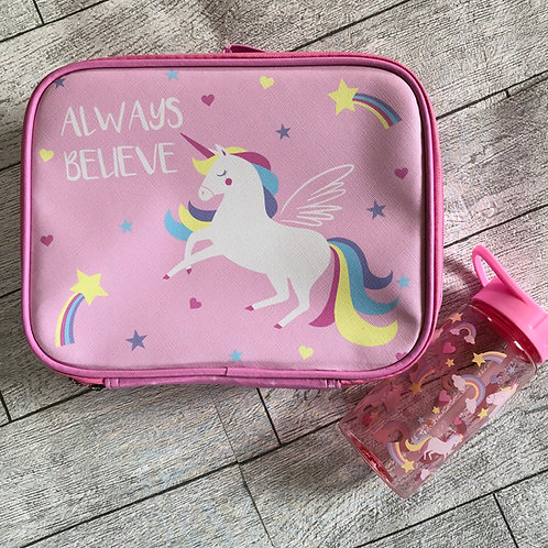 Unicorn & Rainbow Lunchbox / Bag and Water Bottle