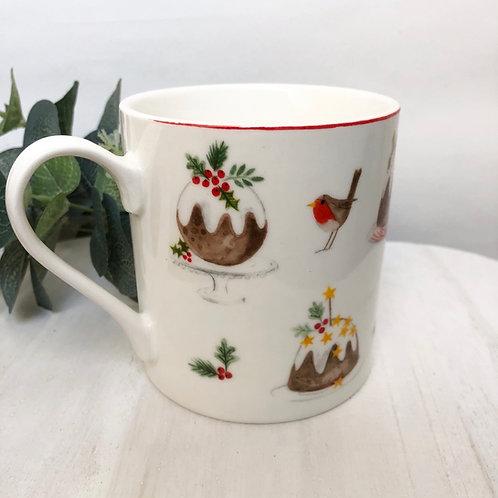 Gisela Graham Bone China Plum Pudding Christmas Mug