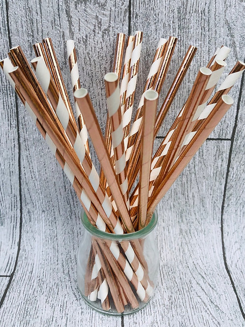 25 Rose Gold Paper Drinking Straws
