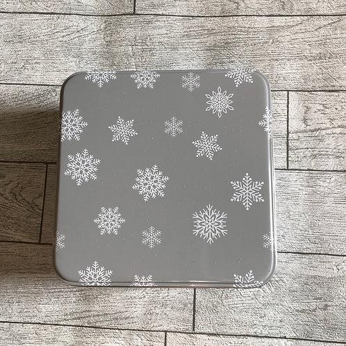 Light Grey and White Snowflake Square Christmas Storage Tin