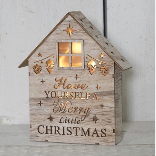Wooden LED Light Up Christmas House