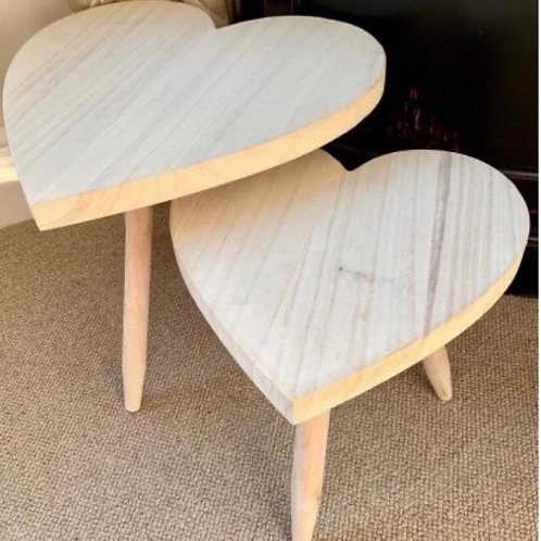 Set of Natural Wooden Heart Stools
