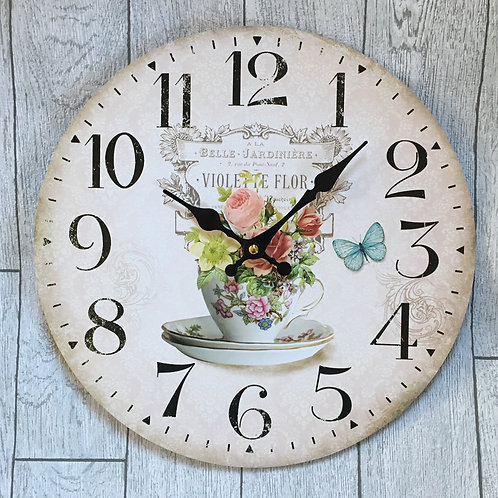 Shabby Chic Floral Wall Clock