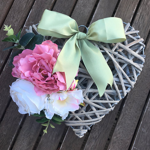 Pink and Green artificial floral heart wreath