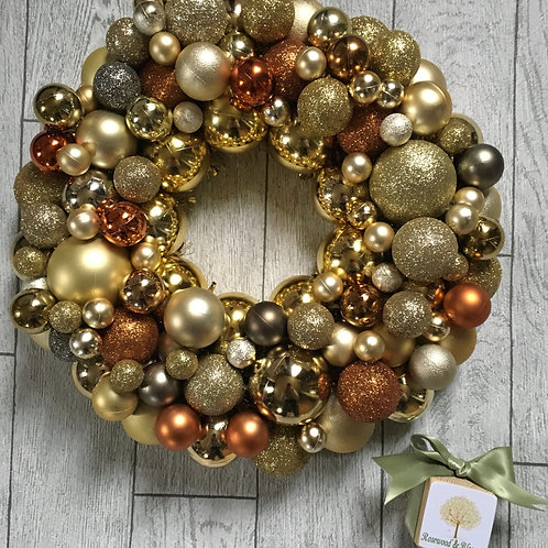 Mixed Gold and Burnt Orange Bauble Wreath
