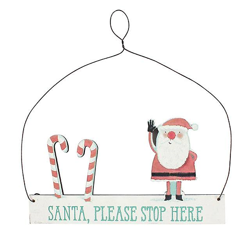 Small Santa Please Stop Here hanging sign