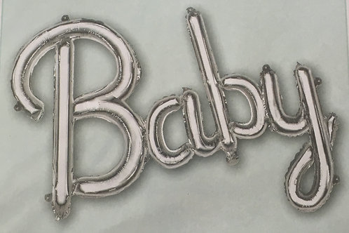 Large Air-Fill silver baby balloon