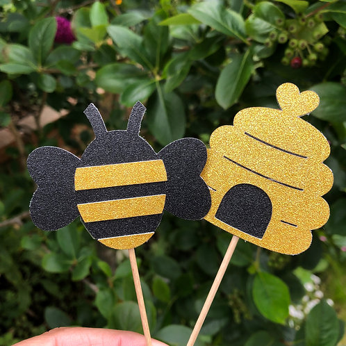 Set of 12 Bee & Bee Hive Cupcake Toppers