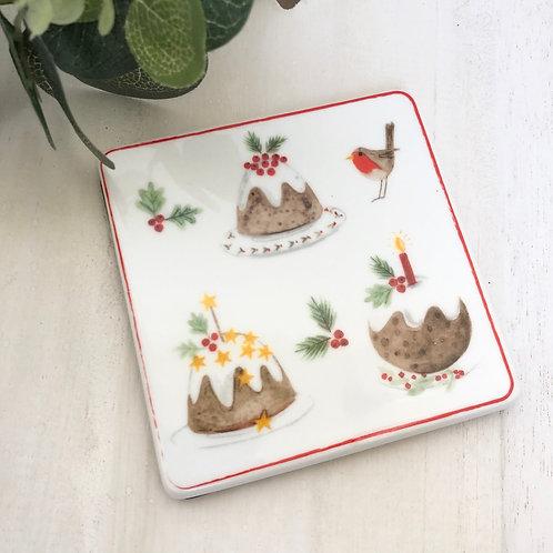 Gisela Graham Bone China Plum Pudding Christmas Coaster