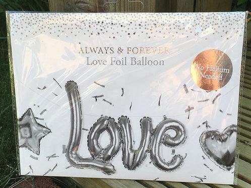 "Large Silver ""LOVE Foil Balloon"