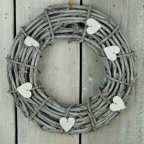 Whitewashed Heart Wreath 44cm