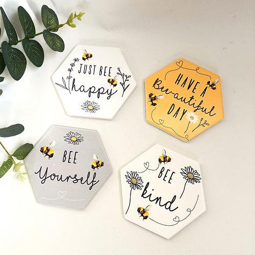 Bee Kind Coasters Set of 4