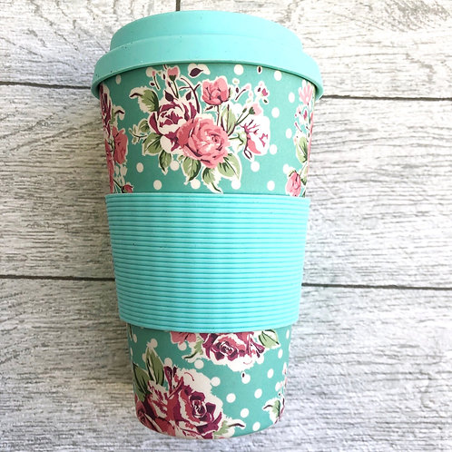 Turquoise Floral Bamboo Travel Mug