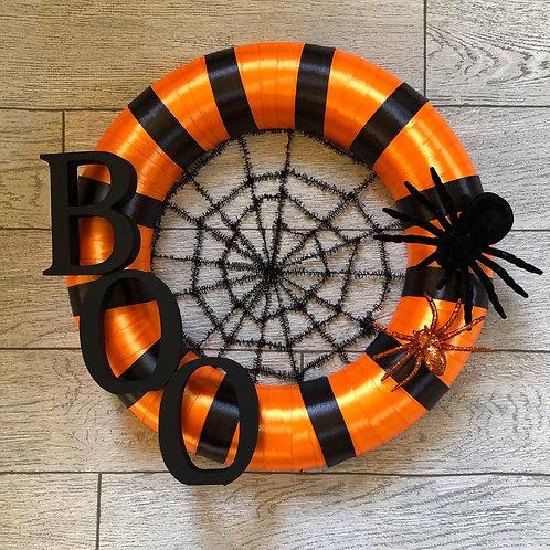 Handmade Halloween Boo Wreath