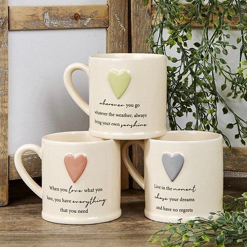 Heart Embossed Mug in 3 Designs