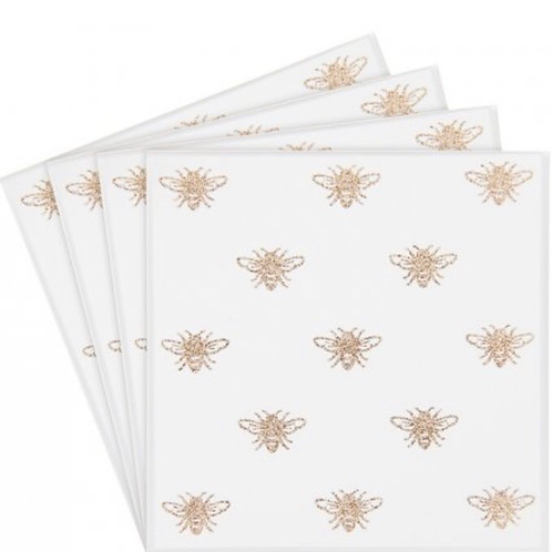 Gold Bees Mirrored Coasters, set of 4