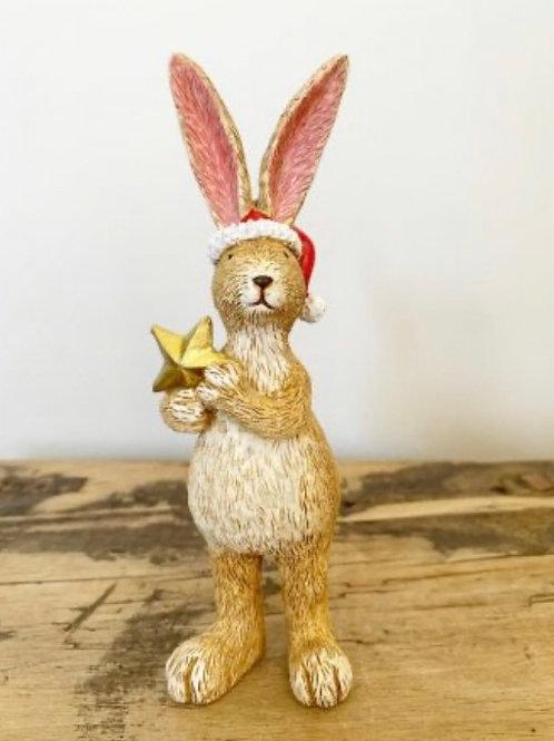 Standing Santa Rabbit with Star