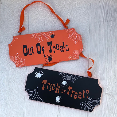 Trick or Treat / Out of Treats Hanging double sided  Halloween Sign