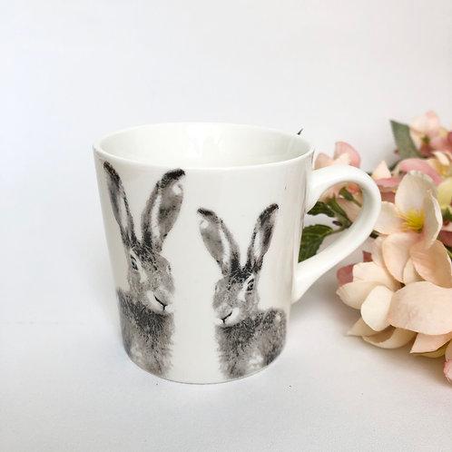 White Ceramic Hare Mug (10cm )