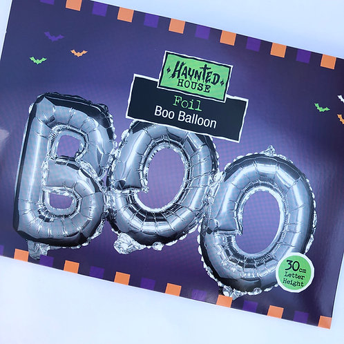 "Halloween ""BOO"" Self Inflating Foil Balloon in Silver"