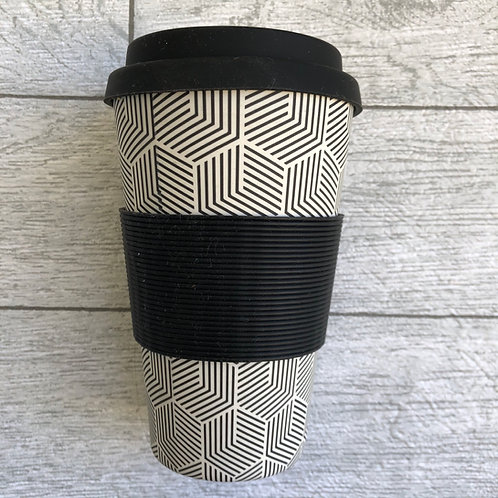 Black and White Bamboo Travel Mug