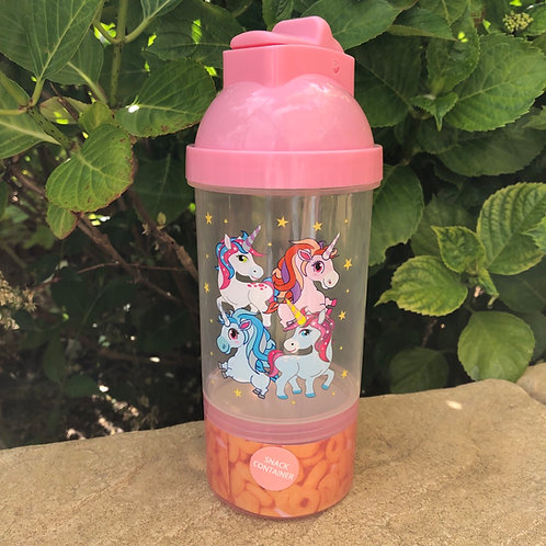 Pink Unicorn Drink and Snack Bottle in one